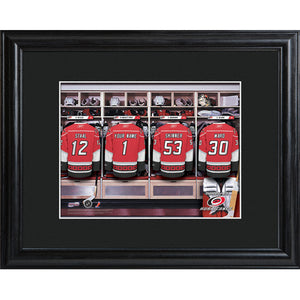 NHL Locker Room Print in Wood Frame - Hurricanes