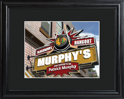 NHL Pub Print in Wood Frame - Blackhawks