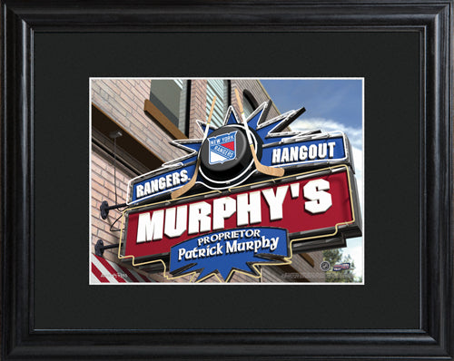 NHL Pub Print in Wood Frame - Rangers