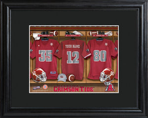 College Locker Room Print in Wood Frame - Alabama
