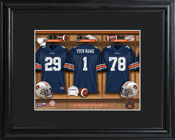 College Locker Room Print in Wood Frame - Auburn