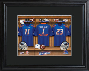 College Locker Room Print in Wood Frame - Boise State