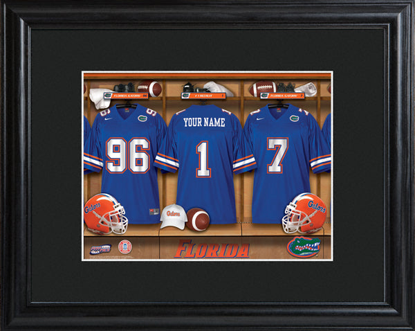 College Locker Room Print in Wood Frame - Florida