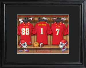 College Locker Room Print in Wood Frame - Iowa State