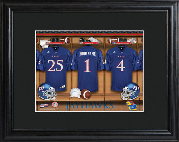 College Locker Room Print in Wood Frame - Kansas