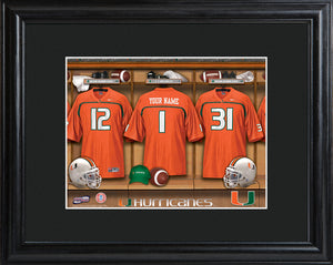College Locker Room Print in Wood Frame - Miami