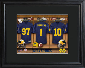 College Locker Room Print in Wood Frame - Michigan