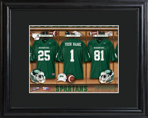 College Locker Room Print in Wood Frame - Michigan State