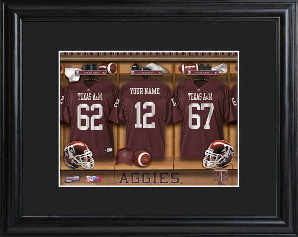 College Locker Room Print in Wood Frame - Texas A&M