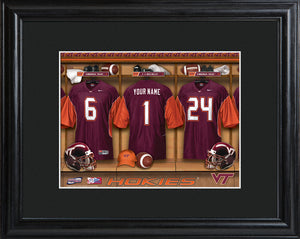 College Locker Room Print in Wood Frame - Virginia Tech