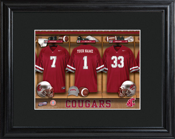 College Locker Room Print in Wood Frame - Washington State