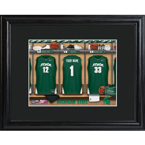 College Basketball Locker Room Print - Michigan State