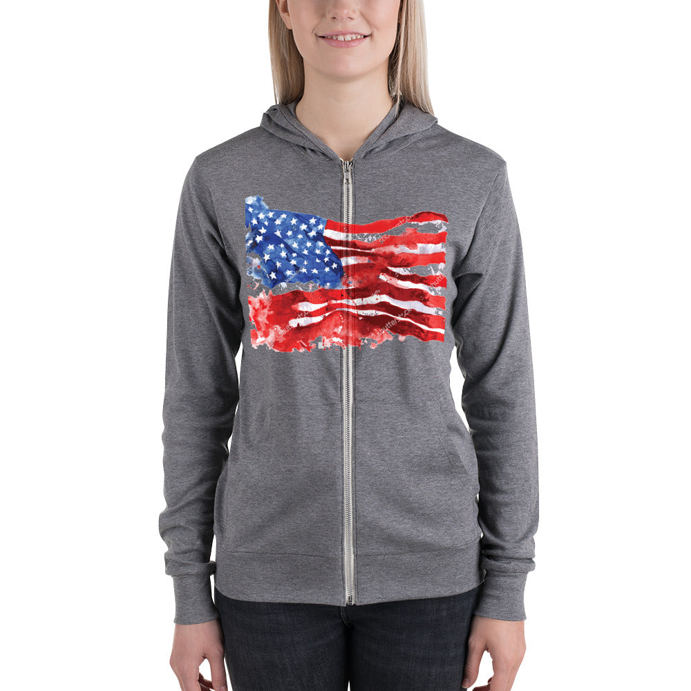 Bella + Canvas 3939 Unisex Triblend Lightweight Zip Hoodie with Tear Away Label