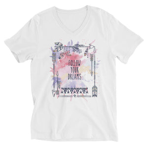 Bella + Canvas 3005 Unisex Short Sleeve V-Neck Jersey Tee with Tear Away Label