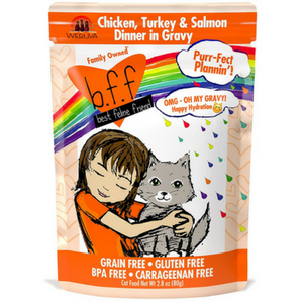 BFF OMG Purr-Fect Plannin'! Chicken, Turkey & Salmon Dinner in Gravy Cat Food Pouches