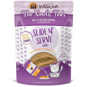 Weruva Slide and Serve The Newly Feds Beef & Salmon Dinner Pate Cat Food Pouches
