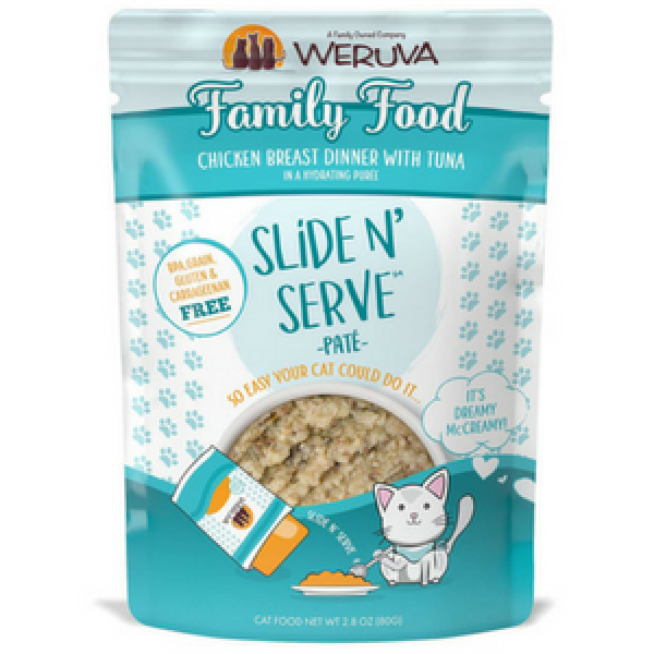 Weruva Slide and Serve Family Foods Chicken Breast Dinner with Tuna Pate Cat Food Pouches