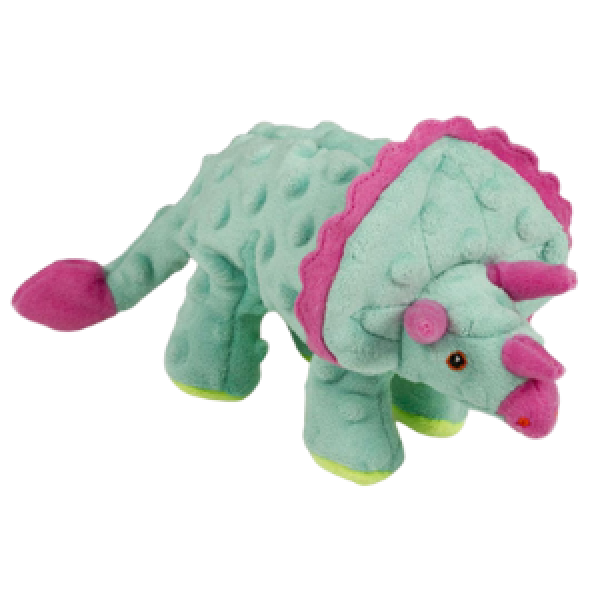 GoDog Dinos Triceratops Chew Guard Dog Toy Teal