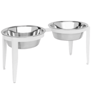 Pets Stop Vision Indoor/Outdoor Double Diner Pet Bowl Set White