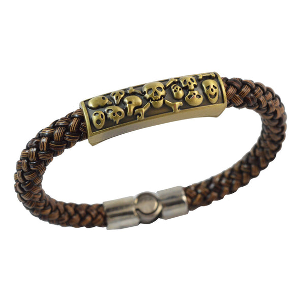 Sarah Brown Skulls Leather Bracelet for Men
