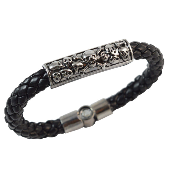 Sarah Black Skulls Leather Bracelet for Men