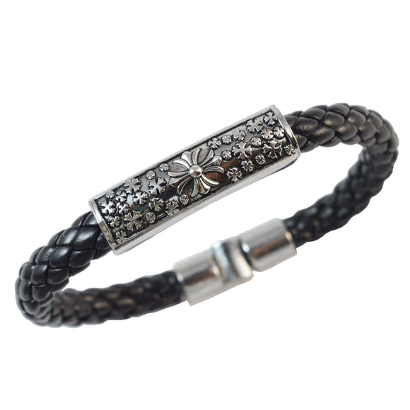 Sarah Black Floral Leather Bracelet for Men