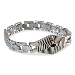 Men Maze Bracelet Silver color for Everyday wear by Sarah