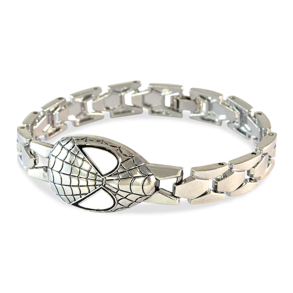 Men's Spiderman Mask Silver Color Bracelet