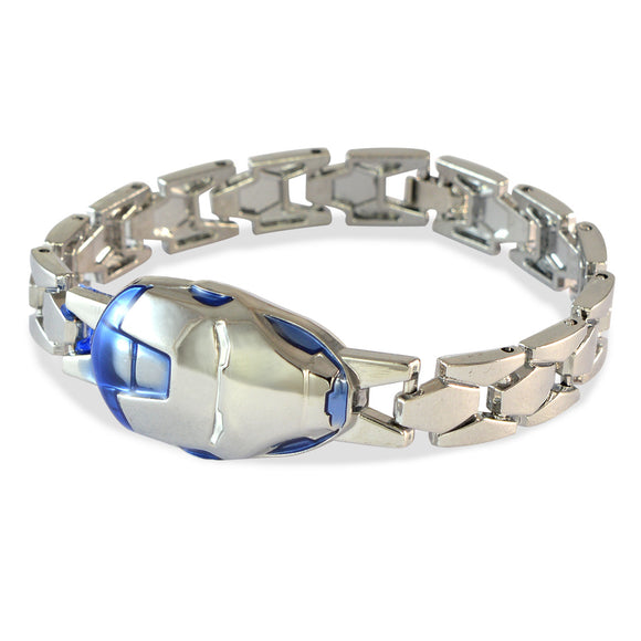 Men's Iron Man Mask Silver Color Bracelet