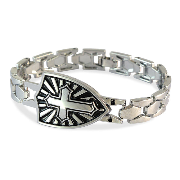 Men's Sheild Cross Silver Color Bracelet