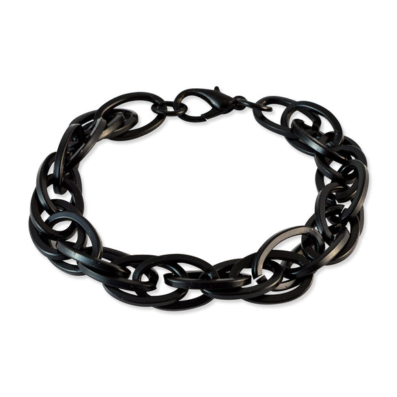 Men Prince of wales chain Bracelet Black color for Everyday wear by Sarah