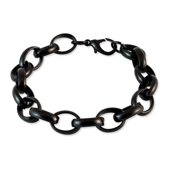 Men Round link chain Bracelet Black color for Everyday wear by Sarah