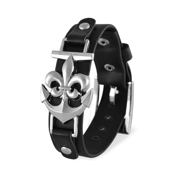 Men::Boys Anchor Bracelet Black color for Everyday wear by Sarah