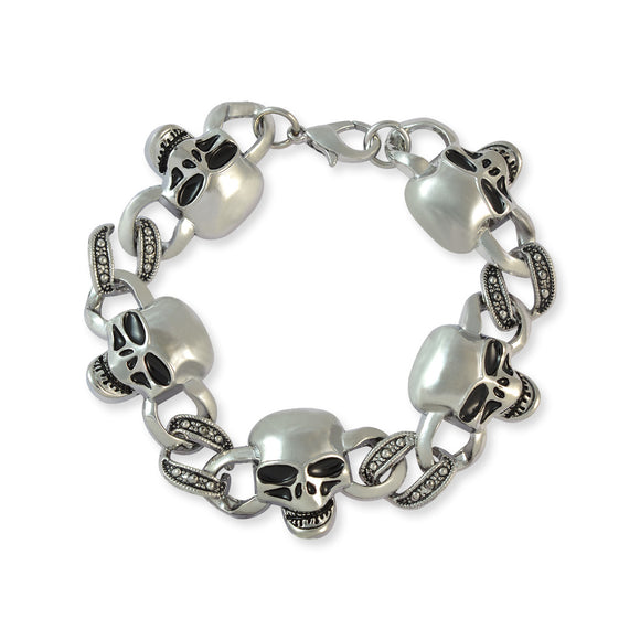 Men::Boys Skulls Bracelet Silver color for Everyday wear by Sarah