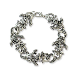 Men::Boys Anchor with Skulls Bracelet Silver color for Everyday wear by Sarah