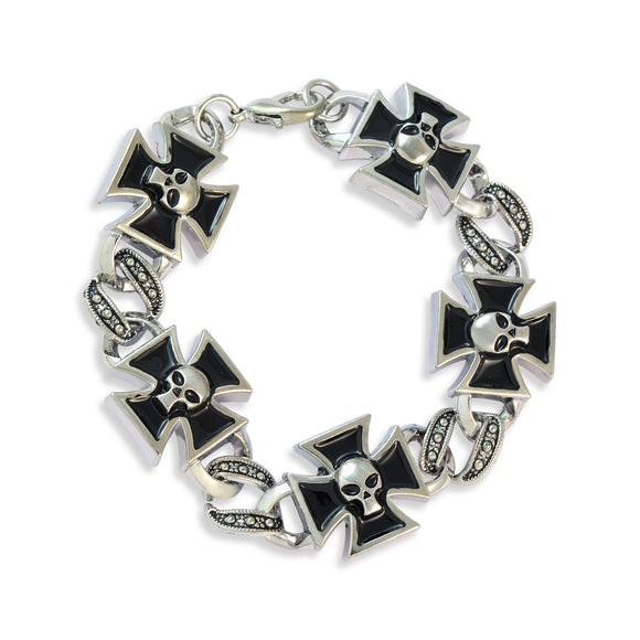 Men::Boys Crutch Cross with Skull Bracelet Silver color for Everyday wear by Sarah