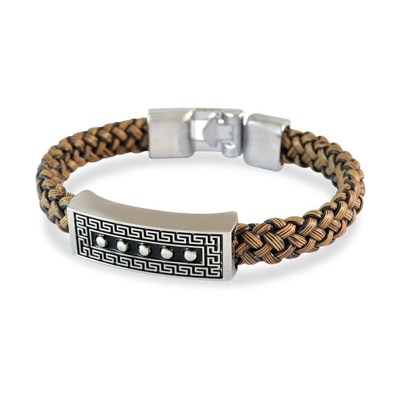 Sarah Men Black Dotted Design Bracelet Brown color for Everyday wear