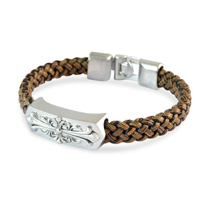 Sarah Men Fleur De Lis Design Bracelet Brown color for Everyday wear