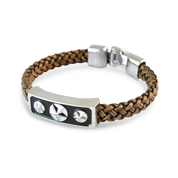 Sarah Men 3 Stars Design Bracelet Brown color for Everyday wear