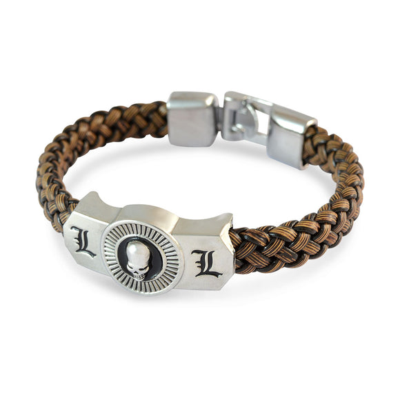 Sarah Men Skull Design Bracelet Brown color for Everyday wear