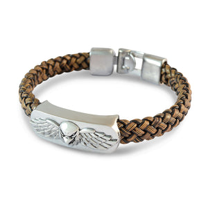 Sarah Men Eagle Face with Wings Bracelet Brown color for Everyday wear