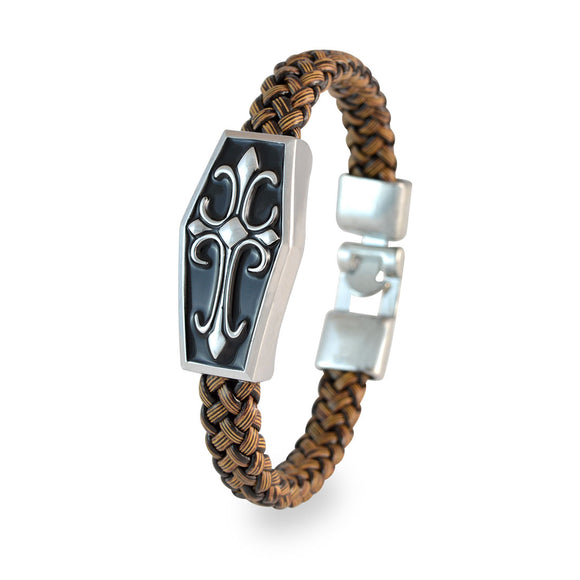 Sarah Men Designer Cross Bracelet Brown color for Everyday wear