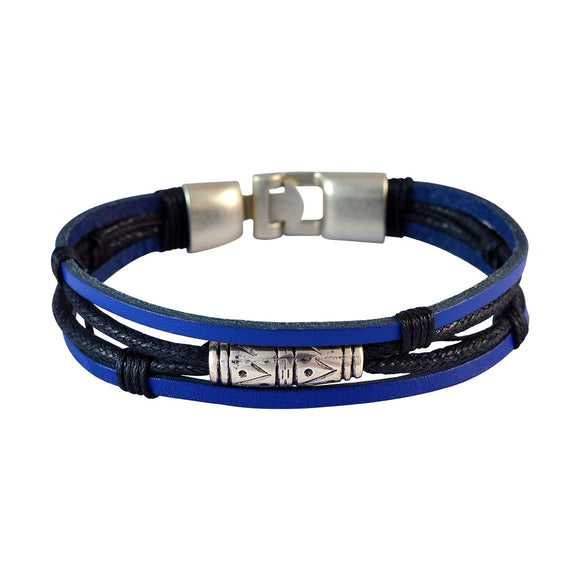 Sarah Men  Leather Bracelet Blue color for Everyday wear