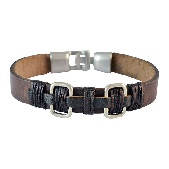 Sarah Men  Leather Bracelet Brown color for Everyday wear