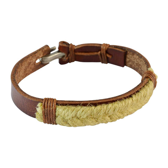 Sarah Men Braided Design Leather Bracelet Brown color for Everyday wear