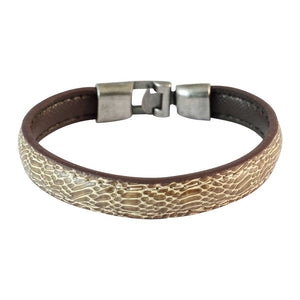 Sarah Men Printed Leather Bracelet Brown color for Everyday wear