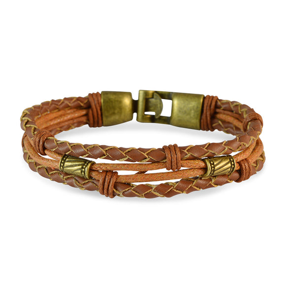 Sarah Men Multi-stranded Leather Bracelet Light Brown color for Everyday wear