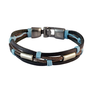 Sarah Men Multi-stranded Leather Bracelet Dark Brown color for Everyday wear