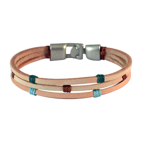 Sarah Men Multi-stranded Leather Bracelet Beige color for Everyday wear