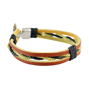 Sarah Men Multi-stranded Leather Bracelet Multi-Colour color for Everyday wear